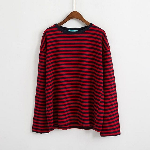 RED STRIPED FULL-SLEEVES T-SHIRT - Diftas