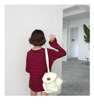 Load image into Gallery viewer, RED STRIPED FULL-SLEEVES T-SHIRT - DIFTAS - Do It For The Aesthetics