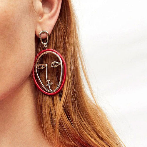 RED COATED FACE EARRINGS - DIFTAS - Do It For The Aesthetics