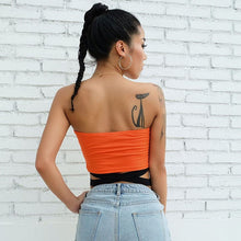 Load image into Gallery viewer, CHECKERBOARD ORANGE TUBE TOP - Diftas