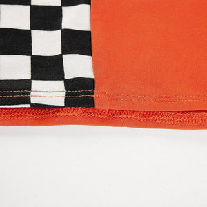 CHECKERBOARD ORANGE TUBE TOP - Diftas