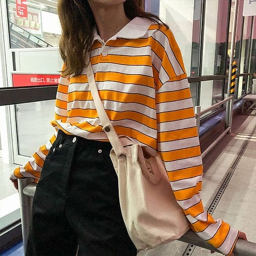 YELLOW STRIPED FULL-SLEEVES TEE - DIFTAS - Do It For The Aesthetics