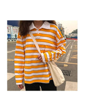 Load image into Gallery viewer, YELLOW STRIPED FULL-SLEEVES TEE - DIFTAS - Do It For The Aesthetics