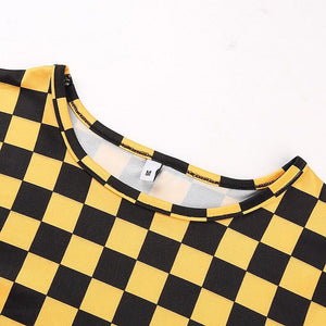 YELLOW CHECKERBOARD CROP TEE - DIFTAS - Do It For The Aesthetics