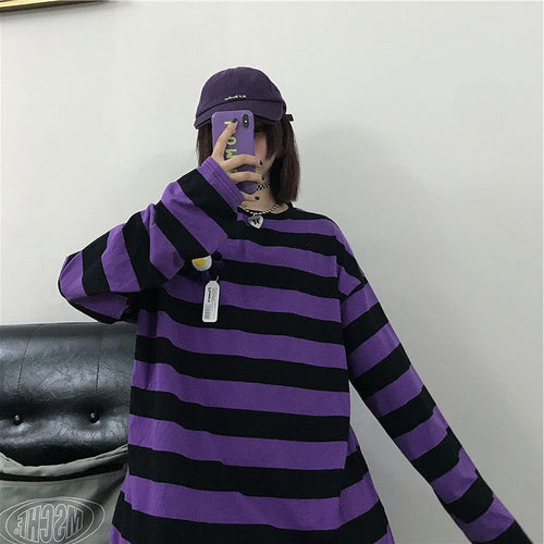 PURPLE STRIPED FULL-SLEEVES TEE - DIFTAS - Do It For The Aesthetics