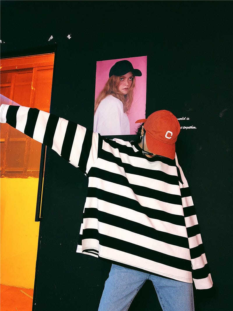 VINTAGE STRIPED FULL-SLEEVES TEE - DIFTAS - Do It For The Aesthetics