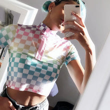 Load image into Gallery viewer, KAWAII CHECKERBOARD CROP TOP - DIFTAS - Do It For The Aesthetics