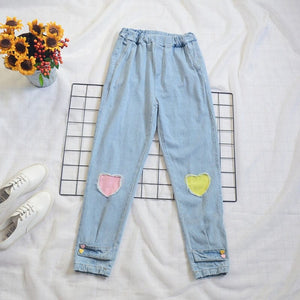 HARAJUKU HEART JEANS - DIFTAS - Do It For The Aesthetics