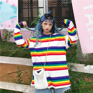 RAINBOW KAWAII FULL-SLEEVES TEE - DIFTAS - Do It For The Aesthetics