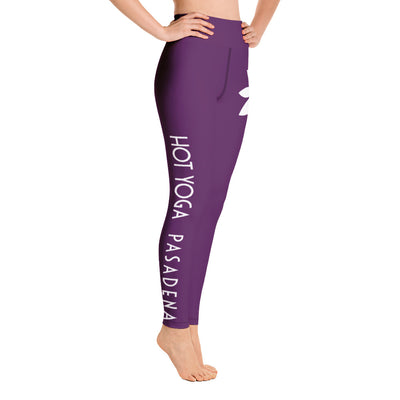 Hot Yoga Pasadena-Flower Hip Purple Leggings