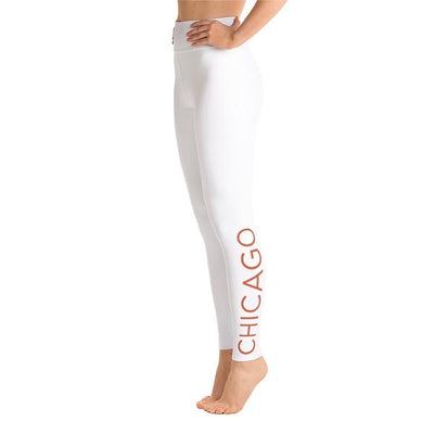 105F Chicago White High Waist Yoga Leggings