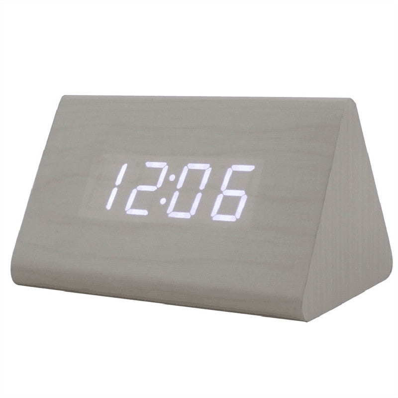 Wooden Digital Alarm Clock with Thermometer