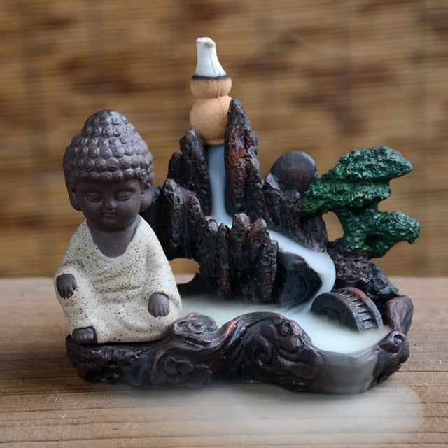 Rockery Buddha Monk Bullet Blackflow Incense Burner