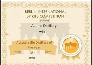 Australian Gen Distillery of the Year 2018 certificate from the Berlin International Spirits Competition