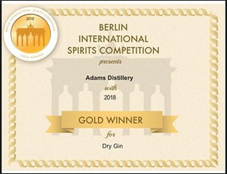 Best Dry Gin 2018 certificate from the Berlin International Spirits Competition