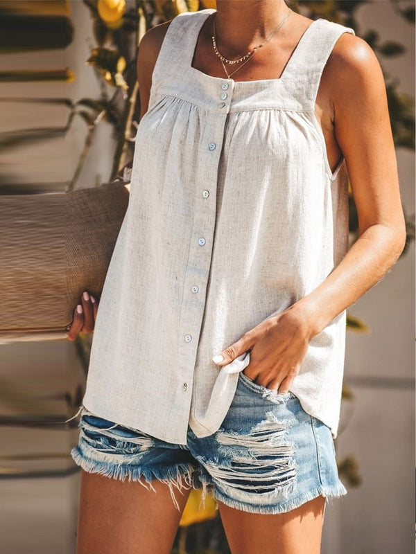 Women Plus Size Solid Buttoned Square Neck Sleeveless Tank Tops
