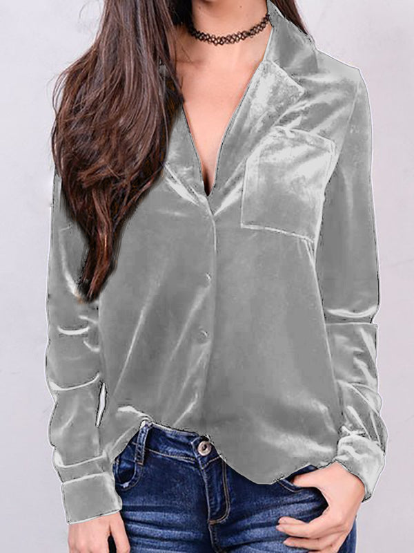 Deep Blue Velvet Casual Shirts & Tops