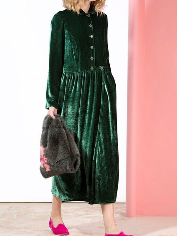 Velvet Solid Long Sleeve Buttoned Dresses