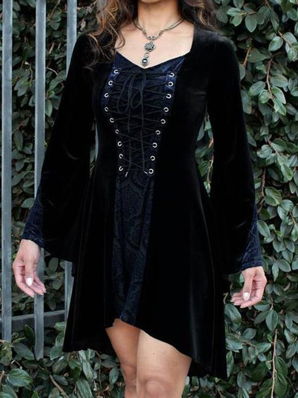 Black Vintage Long Sleeve Velvet Dresses