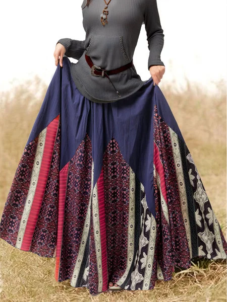 Printed Cotton-Blend Casual Skirts