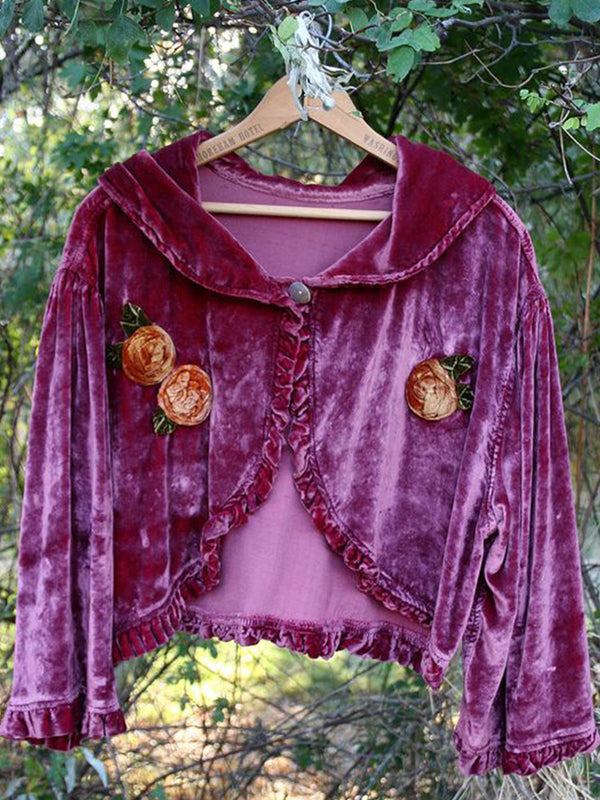 Purple Vintage Ruffled Solid Long Sleeve Outerwear