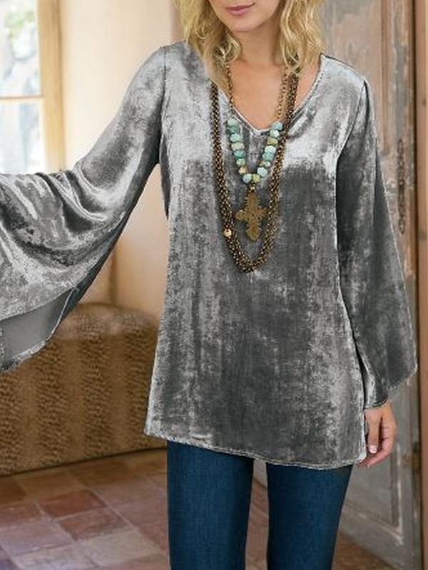 Silver Casual Velvet Plus Size Shirts & Tops