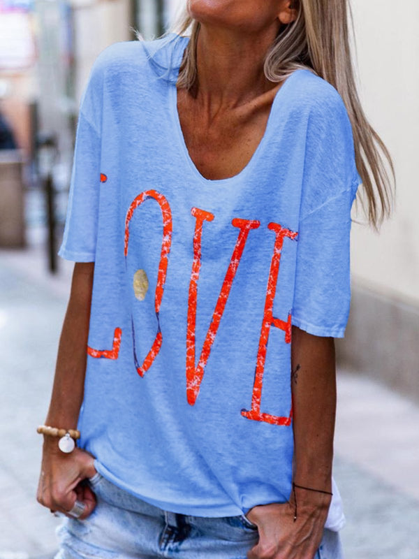 Plus Size Love Print Round Neck Short Sleeves Casual T-Shirts