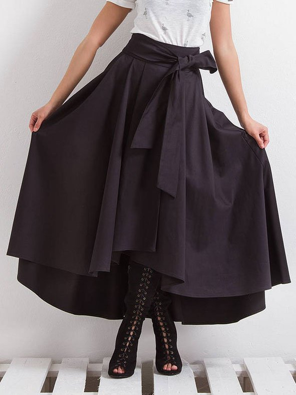 Black Plain Casual Asymmetric Skirts
