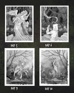 Inktober Days 5-6-9-10 ☾ Original Paintings