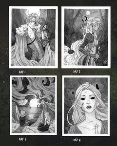 Inktober Days 1-4 ☾ Original Paintings