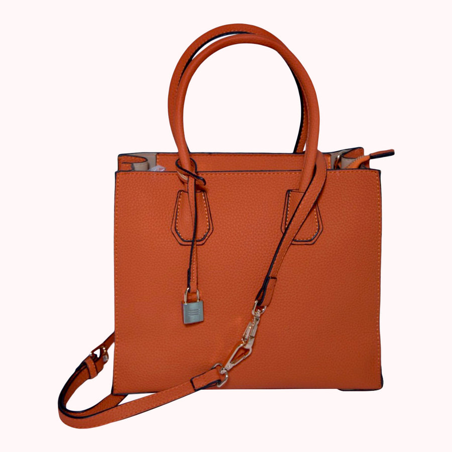 Pebbled Leather Tote- Orange