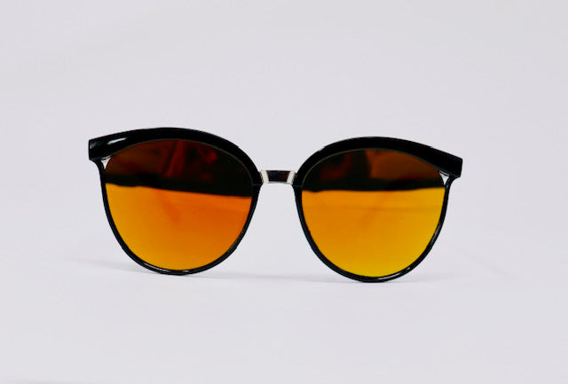 Mirrored Aviator Sunglasses - Orange-Sunglasses-Honey Honey Shop