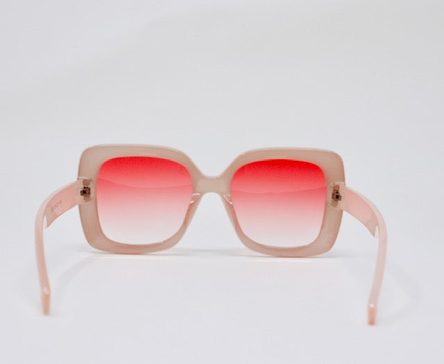 Retro Oversized Square Sunglasses - Pink-Sunglasses-Honey Honey Shop