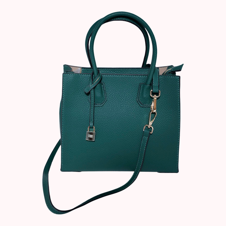Pebbled Leather Tote- Dark Green