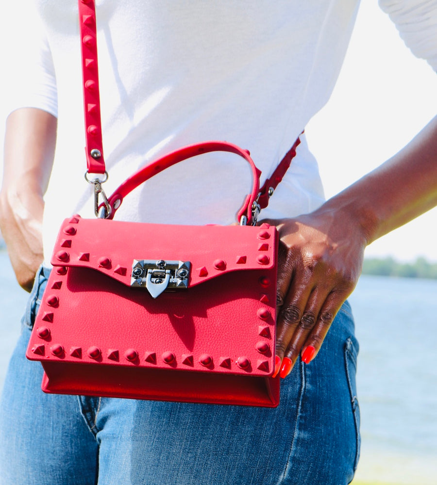 Fast Lane Red Handbag-HANDBAGS-Honey Honey Shop