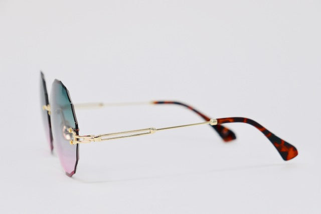 Ombre Rimless sunglasses - Blue/Pink-Sunglasses-Honey Honey Shop
