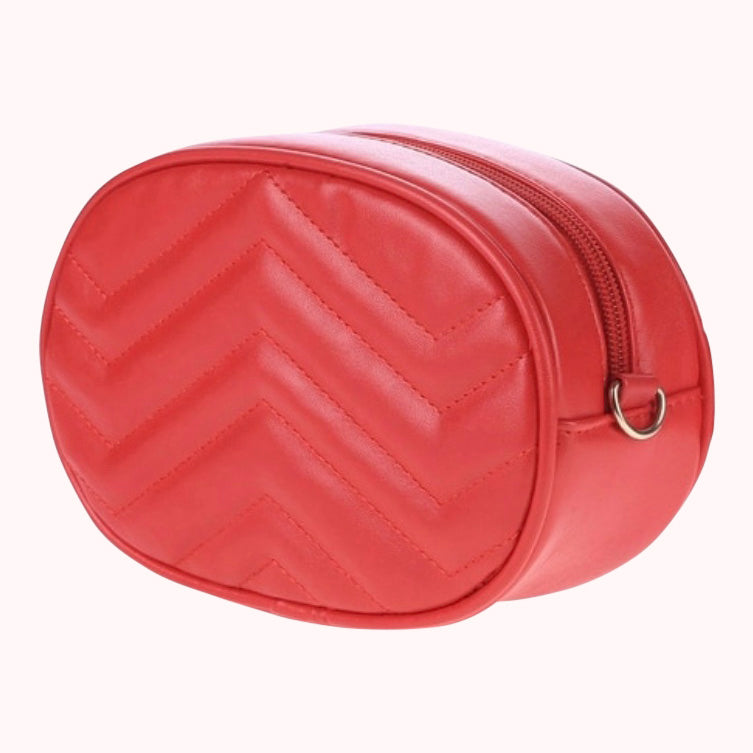 Leather Chevron Fanny Pack- Red