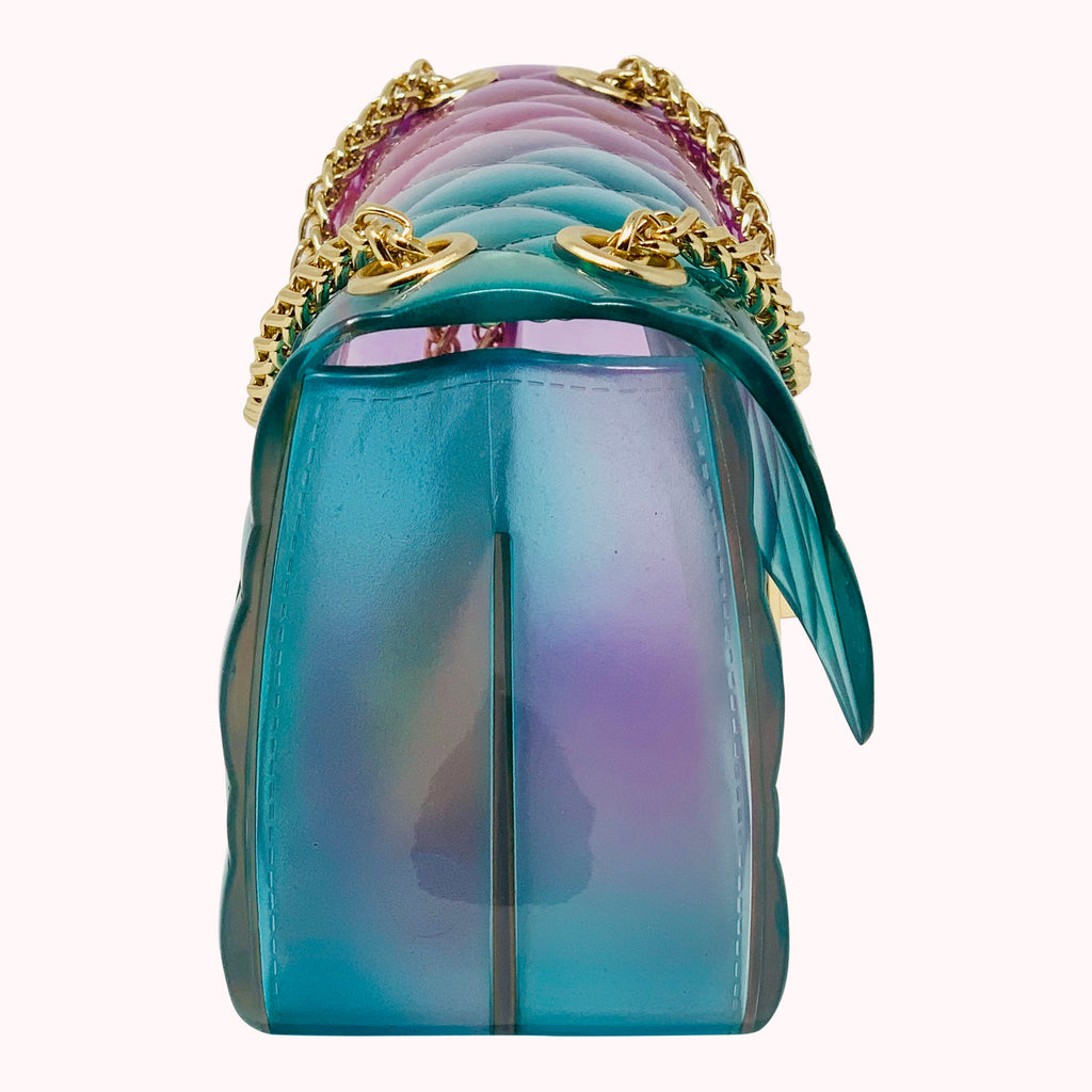 Wave Runner Ombre Quilted Jelly Crossbody Bag Green And