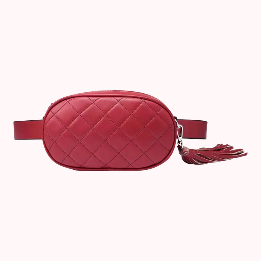 Leather Quilted Fanny Pack- Red