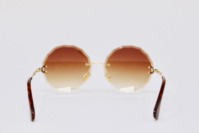 Ombre Rimless Sunglasses - Brown-Sunglasses-Honey Honey Shop