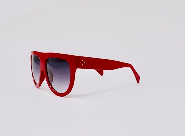 Retro Oversized Flat Top Aviator Sunglasses - Red-Sunglasses-Honey Honey Shop
