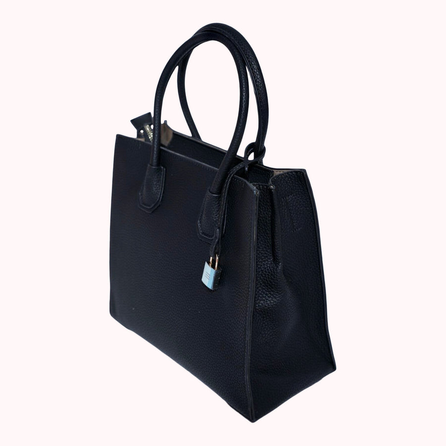 Pebbled Leather Tote- Black