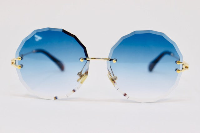 Ombre Rimless sunglasses - Blue-Sunglasses-Honey Honey Shop