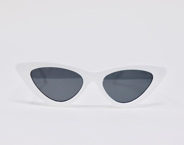 Retro Cat Eye- White-Sunglasses-Honey Honey Shop