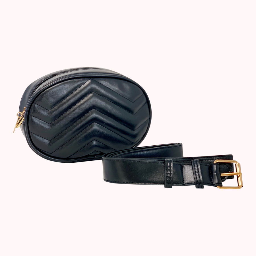 Leather Chevron Fanny Pack- Black