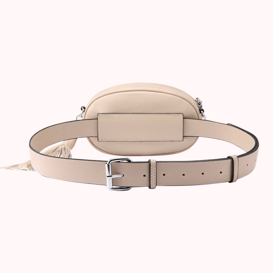 Leather Quilted Fanny Pack- Beige