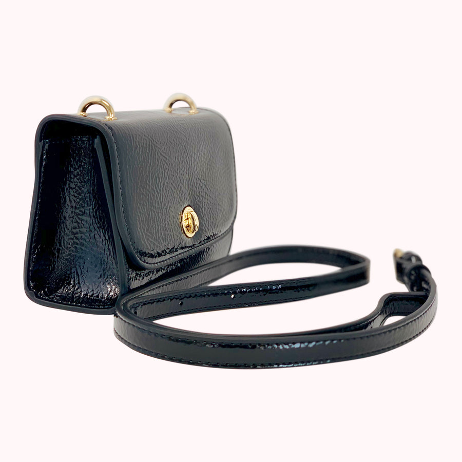 Patent Leather Fanny Pack- Black