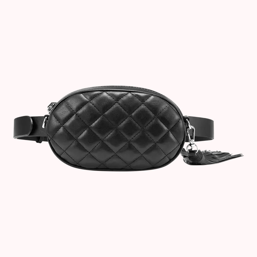 Leather Quilted Fanny Pack- Black
