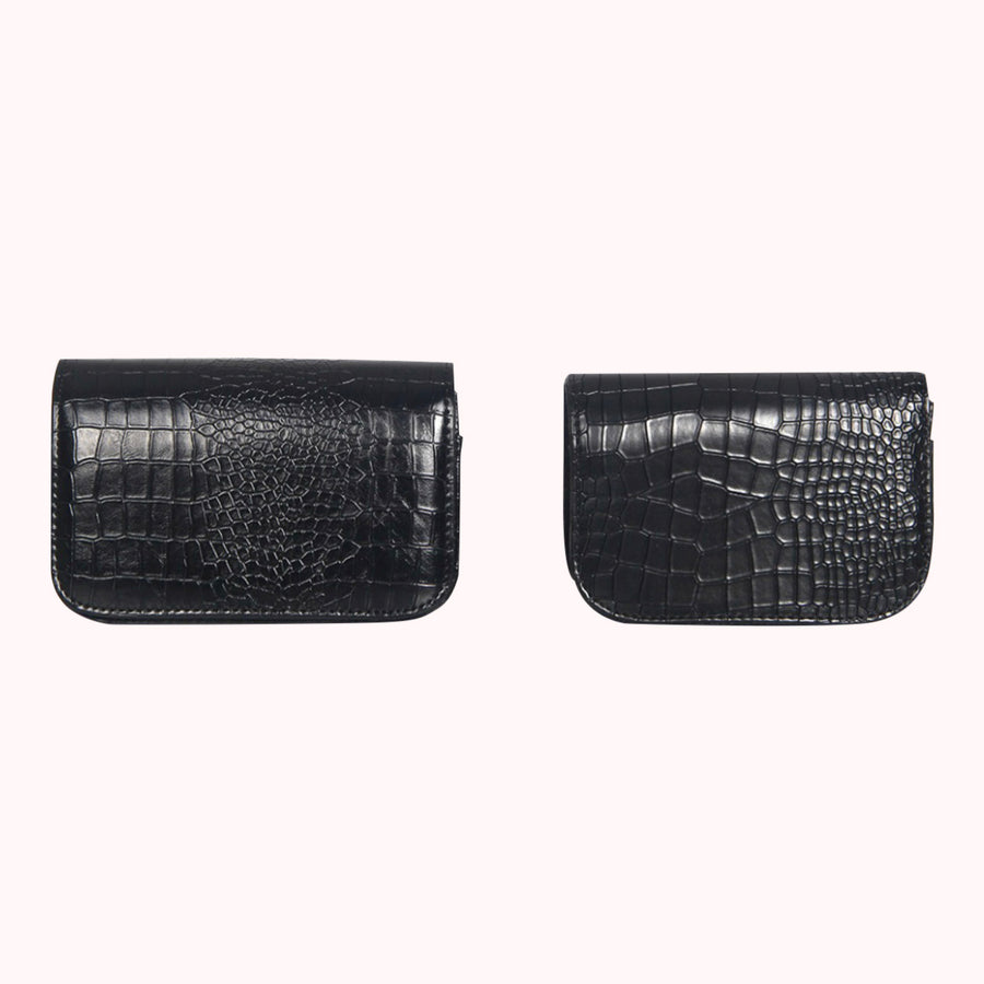 Croc Leather Fanny Pack- Black (large)