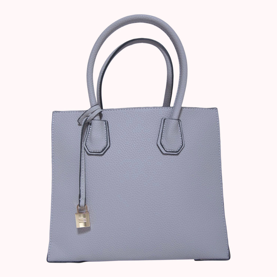 Pebbled Leather Tote- Grey